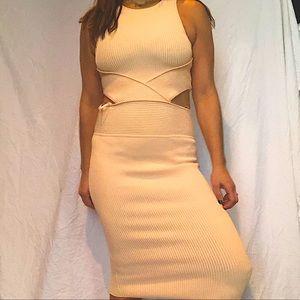 Ronny Kobo Pink Megan Cut Out Rib Dress for Women